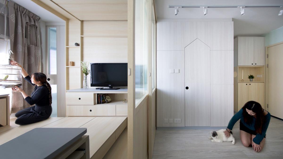 Sim-Plex (Гонконг). Квартира для владельцев кошки и попугая