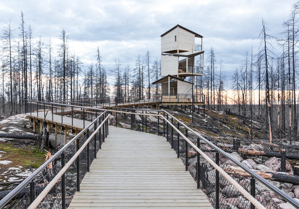 pS Architektur (Швеция). Инфоцентр в лесу после пожара