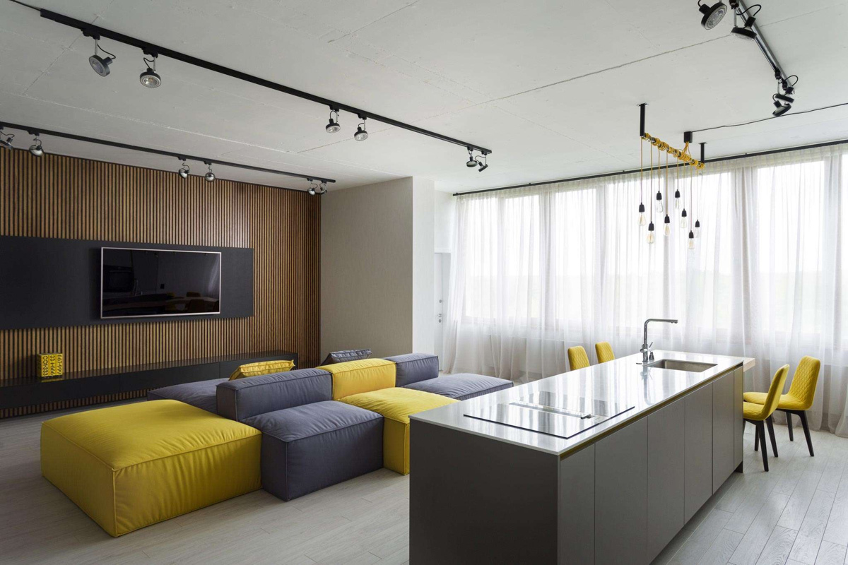 Bondarenko Design (Украина). Желтый лофт